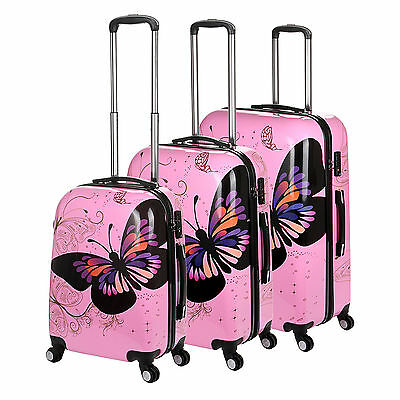 New Pink Butterfly 4Wheel Hard Shell Suitcase PC Luggage Trolley Case In 3 Sizes • 35.99£