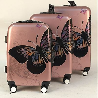 Rose Gold Butterfly 4Wheel Hard Shell Suitcase PC Luggage Trolley Case In 3 Size • 25.99£