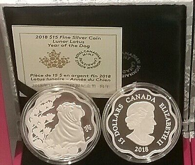 $ CDN138.88 • Buy 2018 Canada Lunar Lotus Year Of The Dog $15 Pure Silver Proof Coin