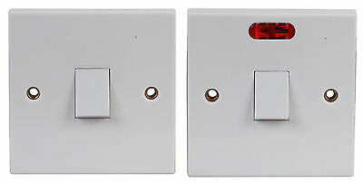 £7.13 • Buy Electric Switch Double Pole  20A WHITE Electrical Fitting With Or Without LIGHT