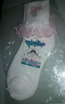 £4.61 • Buy White/ Pink Lace Socks Flower Girl Wedding Pageant Holy Communion 6-6 Yrs