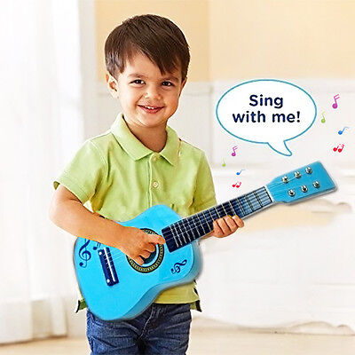 23  Children Kids Blue  Guitar Acoustic Wooden Musical Instrument Child Toy Gift • 14.80£