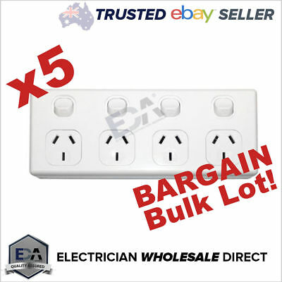 AU109.41 • Buy 4 Gang GPO 5x Bulk Quad Power Point Outlet 3 Pin Socket Outlet With Switches