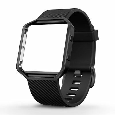 $ CDN26.03 • Buy Fitbit Blaze Smart Fitness Watch Large Silicone Replacement Band Gunmetal Frame