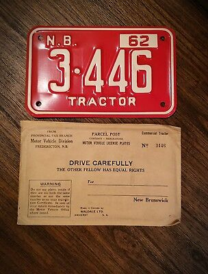 AU68.66 • Buy Collectible 1962 New Brunswick Canada Tractor License Plate With Original Papers