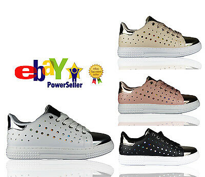 Womens Ladies Plimsolls Sneakers Lace Up Sports Pumps Trainers Slip On Shoe Size • 9.99£