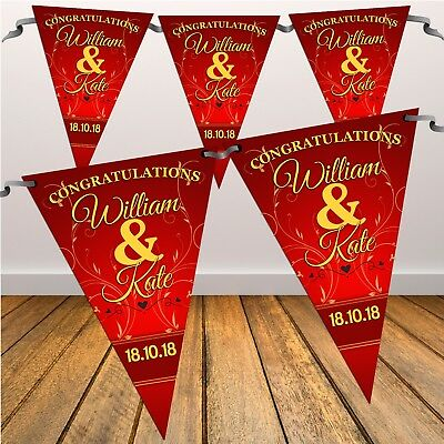 Personalised Congratulations Wedding Engagement Flag Banner Bunting N7 10 Flags • 10.95£
