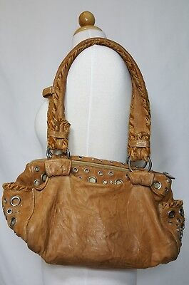 $39.99 • Buy Treesje Distressed Brown Leather With Grommet Crystals Detail Shoulder Bag Purse