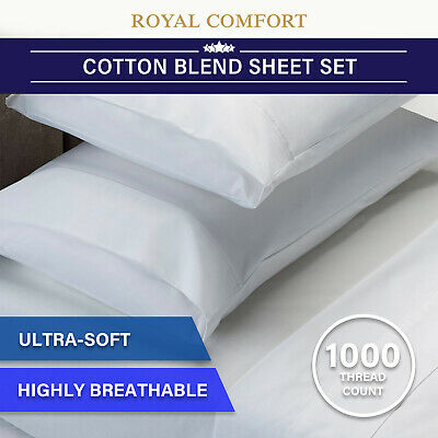 RC Bed Sheets Set 1000TC Soft Touch Cotton Blend Flat Fitted Double/Queen/King
