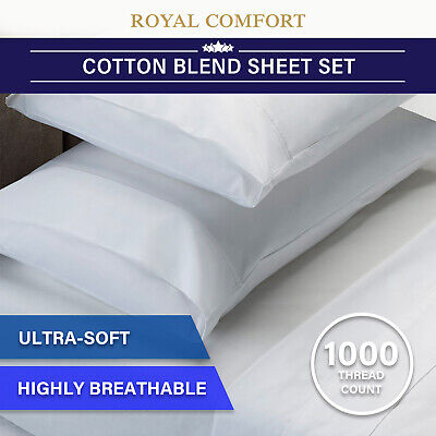 AU52.95 • Buy Royal Comfort 1000 Thread Count Sheet Set Cotton Blend Ultra Soft Touch Bedding