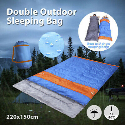 AU39.64 • Buy Double Sleeping Bag Bags Camping Hiking -10°C Tent Winter 220x150cm Outdoor AU