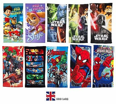 Official DISNEY MARVEL CHARACTER TOWELS Cotton Pool Beach Kids Boys Girls Gift • 10.60£