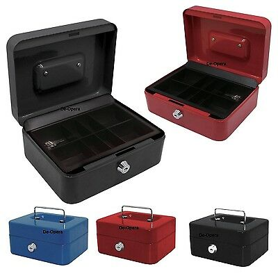 Cash Box Steel Money Bank Petty Deposit Tin Coin Security Safe With 2 Key & Tray • 7.95£
