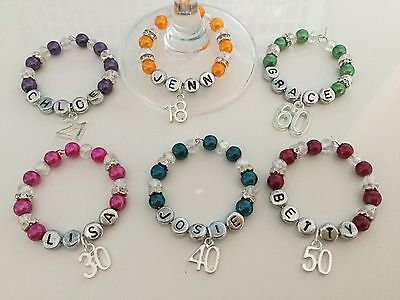 Personalised Wine Glass Charm - 18th 21st 30th 40th 50th 60th Birthdays/Age • 3.25£