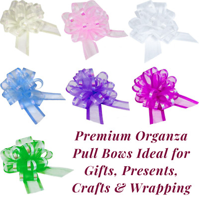 Large 50mm Organza Pull Bow Quality Gift Wrap Ribbon Wedding Car Birthday Party • 1.56£