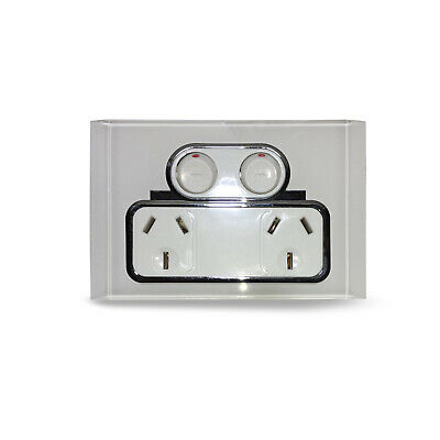 AU21.89 • Buy Saturn Double Power Point Switch White REAL Glass Crystal GPO Slim Line Outlet