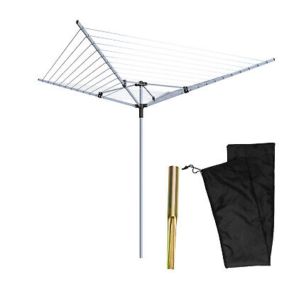£35.99 • Buy Rotary Airer 4 Arm Clothes Garden Washing Line Dryer 60M Folding Outdoor Spike