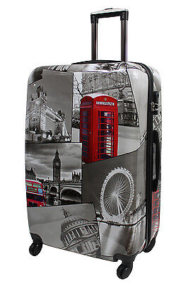 Extra Large Lightweight 4 Wheel Hard Shell PC London Print Luggage Suitcase PC04 • 49.95£