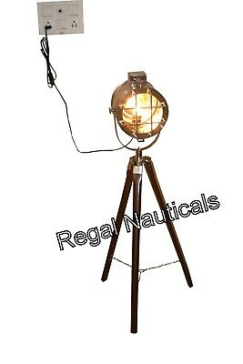 AU120 • Buy  Electric Spot Searchlight Marine Floor Lamp Wooden Tripod Light/Lamp Stand