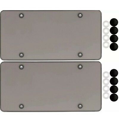 $9.95 • Buy 2 Smoke Flat License Plate Cover Bug Shield Tinted Plastic Tag Protector & Caps