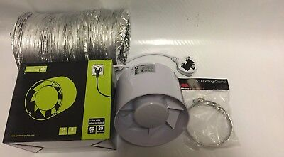 6 Inch 150mm Inline Extractor Intake Grow Room Fan Kit 5m Ducting & 2 Duct Clips • 37£