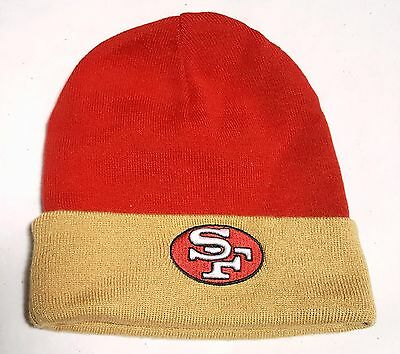 SAN FRANCISCO 49ERS Knit Beanie Hat Cap MITCHELL   NESS Two Tone Rev Cuffed  NWT • cead92f57ae4