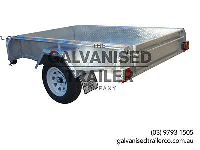 AU1550 • Buy 7x4 Single Axle Box Trailer Galvanised With Full Checker Plate & 300mm Sides
