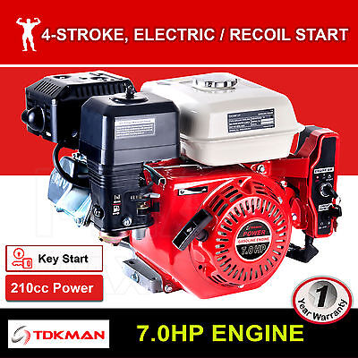 AU229.90 • Buy 7HP Petrol Engine OHV Stationary Motor Horizontal Shaft Electric Start Recoil