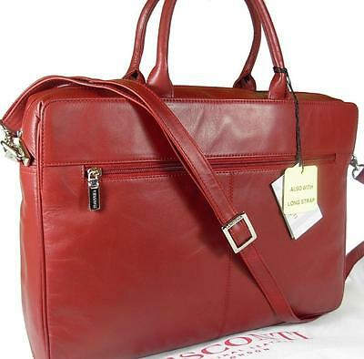 New Ladies Visconti Dark Red Leather Laptop Briefcase Bag Free Uk P&p • 89.99£