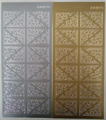 2 Sheets Of  Corner Peel-offs Scrolls (1) Gold And Silver  48 In Total • 2.25£