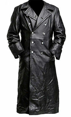 Mens German Classic Ww2 Officer Military Uniform Black Leather Trench Coat • 129.99£