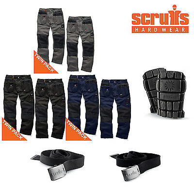 Scruffs WORKER PLUS Work Trousers TWIN PACKS With Knee Pads & Clip Belt Options • 60.95£