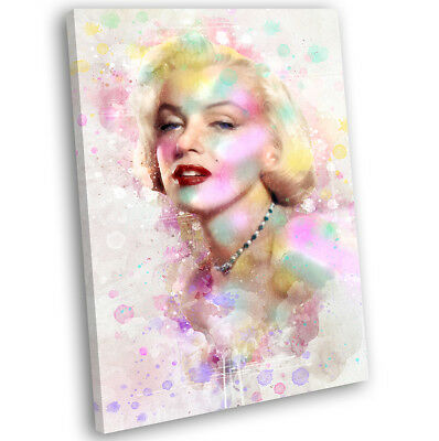 Marilyn Monroe Abstract Watercolour Canvas Print Framed Iconic Art Picture • 29.99£