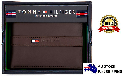 AU59.99 • Buy Genuine New Tommy Hilfiger Brown Leather Men Ranger Billfold Wallet Authentic