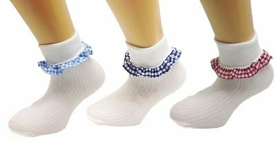 3 Pairs White Soft Cotton School Girls Ankle Socks With Gingham Trims Schoolwear • 99£