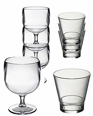 $48.28 • Buy Polycarbonate Plastic Unbreakable Reusable Stacking Wine And Whisky Glasses