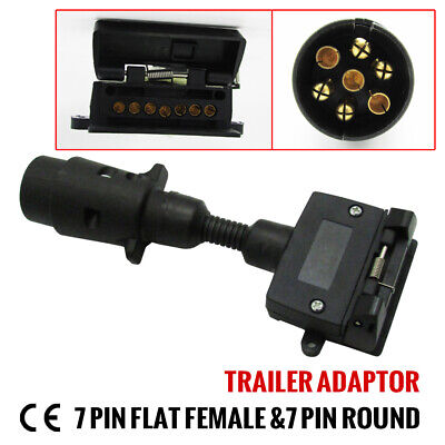 AU18.95 • Buy 1pc 7 Pin Round Socket And 7 Pin Flat Female Plug 12v Trailer Adaptor Connector