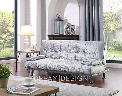 Crushed Velvet Fabric Sofa Bed 3 Seater Sofabed Silver With Chrome Legs • 169.99£