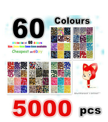 60 COLOURS PACK X 5000 RESIN FLAT BACK RHINESTONES DIAMANTE CRAFT GEMS 3/4/5/6MM • 4£