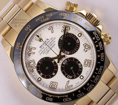 $ CDN46108.27 • Buy Rolex Daytona 116528 18k Yellow Gold-White/Black Arab Dial-Black Insert-2Y WTY