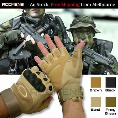 AU19.50 • Buy Military Tactical Leather Gloves Motorcycle Outdoor Army Combat Fingerless Sport