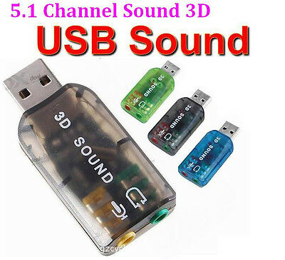 £2.99 • Buy 5.1USB To 3.5mm Mic Headphone Jack Stereo Headset 3D Sound Card Audio Adapter PC