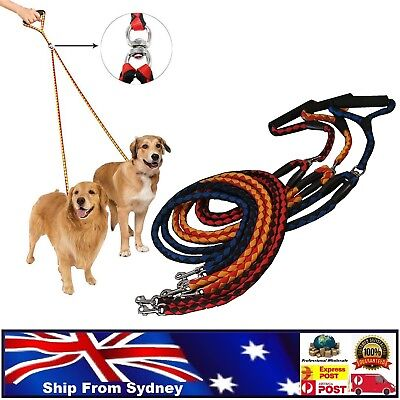 AU20.50 • Buy Duplex Double Dog Coupler Twin Lead Rope For 2 Way Two Pet Dogs Walking Leash