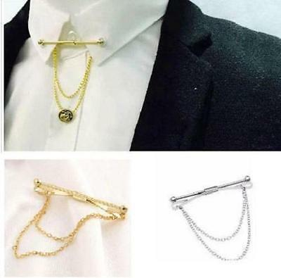 £3.50 • Buy Mens Neck Tie Shirt Pin Tie 5.5 Cm Bar Collar Clip Clasp With Chain