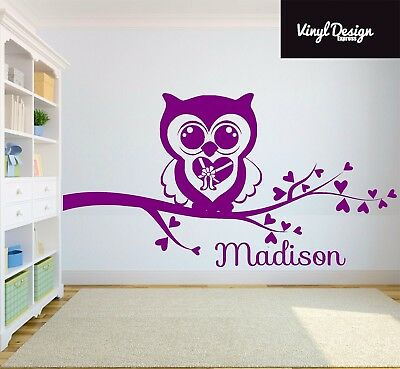 Personalised Owl Sticker For Children's Bedroom Vinyl Wall Art Sitcker • 13.50£