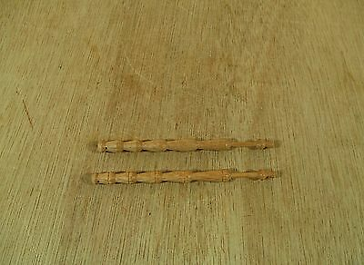 $30.43 • Buy 2 Antique Turned Light Brown Wooden Lace Bobbin Spindles Each 4 1/2  Long