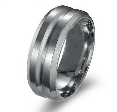 WEDDING BAND Mens 8mm Stainless Steel Titanium Indented Centre Fashion Ring • 6.99£