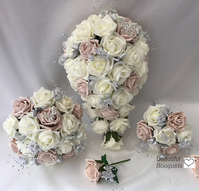 Wedding Bouquets Flowers Blush Pink Butterfly Bride Bridesmaid Flower Girl Wand • 15£