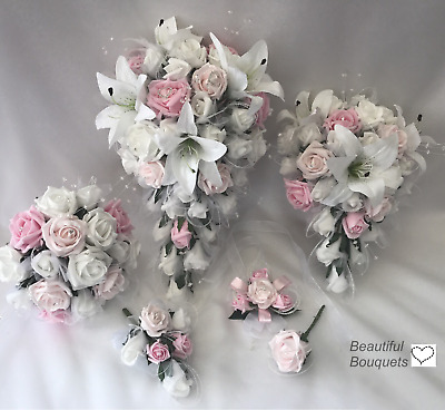 Wedding Flowers Ivory Rose Star Lily Bouquet, Bride, Bridesmaid Flower-Girl Pink • 15£