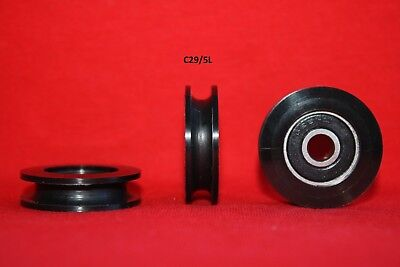 £9 • Buy 29MM Round U And V Groove Nylon Pulley Wheels Roller For Rope Ball Bearing